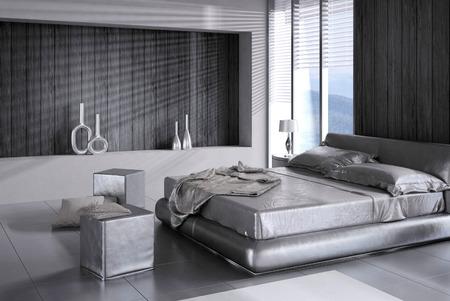 3D rendering of modern bedroom interior photo