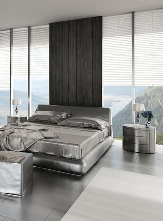 window shades: 3D rendering of modern bedroom interior