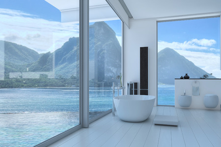 design interior: Bathroom interior with French windows and scenic view Stock Photo