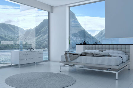 sea bed: Bedroom interior with French windows and scenic view