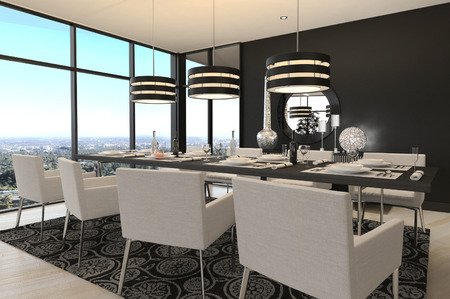 dining table and chairs: 3D rendering of modern luxury dining room interior and scenic view Stock Photo