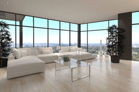 3D rendering of luxury living room interior