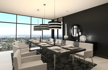 scenic: 3D rendering of modern luxury dining room interior and scenic view Stock Photo