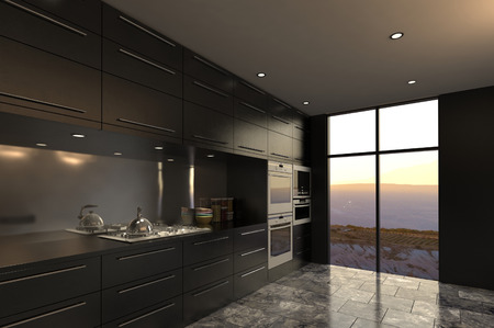 kitchen cabinets: 3D rendering of modern luxury kitchen interior