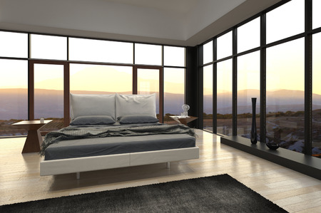 3D rendering of modern bedroom with landscape view photo
