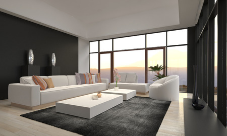 living room: 3D rendering of modern living room interior