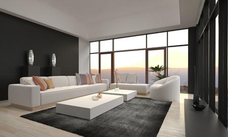 3D vykreslování moderní obývací pokoj interiér