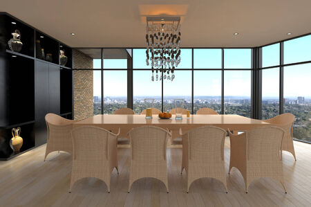 Modern design dining area with cityscape view photo