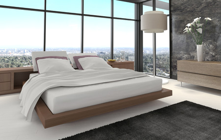 beautiful bed: 3d rendering of a modern bedroom