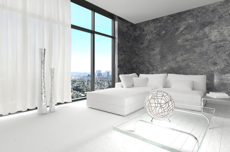 interior render: Modern design living room with cityscape view