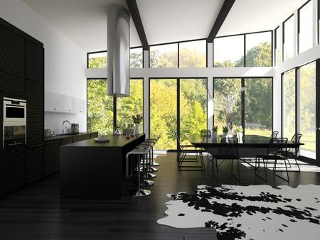 贅沢な家のキッチンとダイニング エリア 写真素材