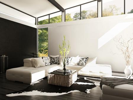 modern living: Modern white living room