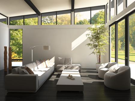 modern living room: Modern white living room