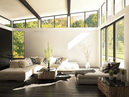 living room design: Modern white living room