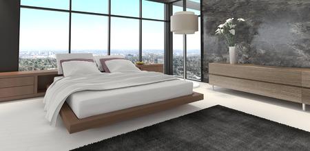 3d rendering of a modern bedroom photo