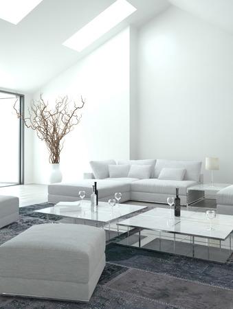 living room: Classy white living room