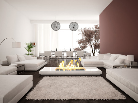 Living room with modern fireplace Stock Photo