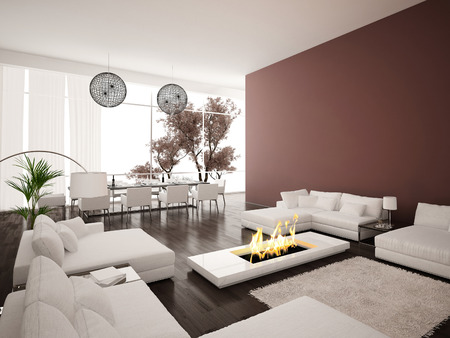 Living room with modern fireplace photo