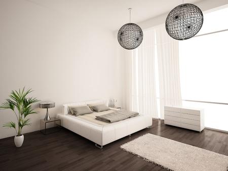 Binnen een moderne slaapkamer