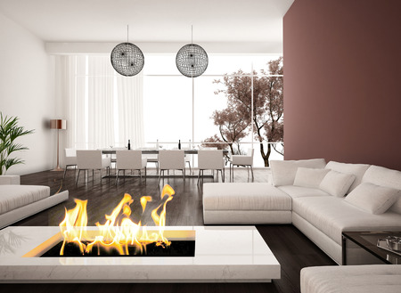 fireplace living room: Living room with modern fireplace Stock Photo