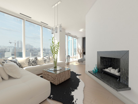 Modern design living room with cityscape view photo