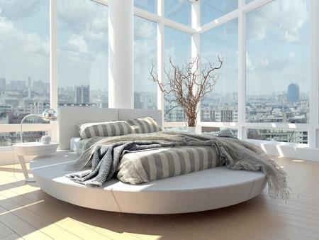 Modern design woonkamer met stadsbeeld uitzicht