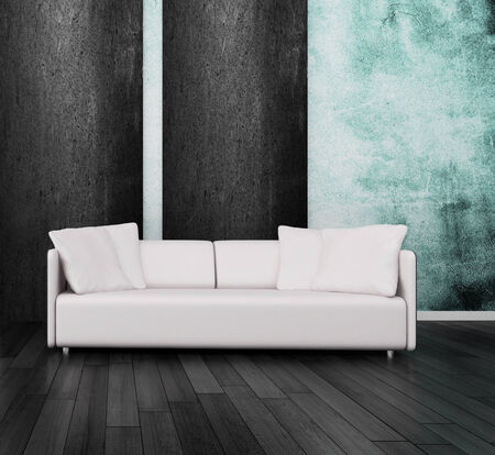 3D rendering of couch against wall photo