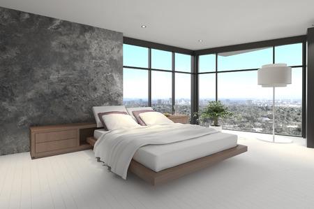 master bedroom: 3d rendering of a modern bedroom