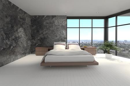 view of a comfortable bedroom: 3d rendering of a modern bedroom