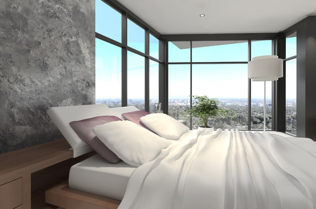 master bedroom: 3d rendering of a modern bedroom
