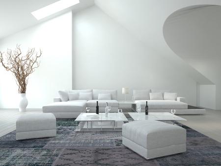 上品な白いリビング ルーム
