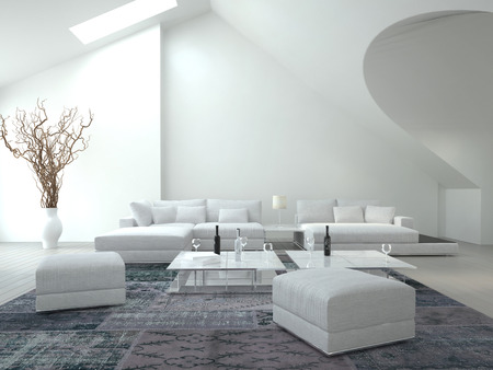 living room sofa: Classy white living room