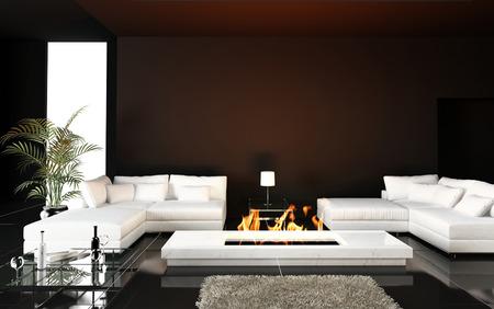 モダンな暖炉のあるリビング ルーム