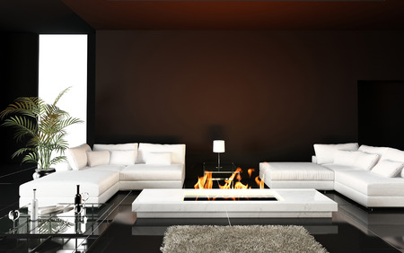 Living room with modern fireplace Stockfoto