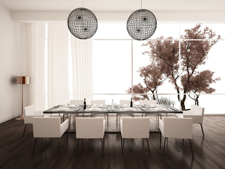 dining table and chairs: Modern white dining room