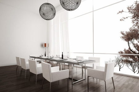 modern lifestyle: Modern white dining room