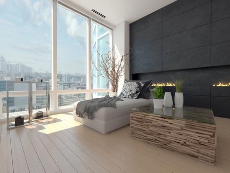 都市の景観を望むモダンなデザイン リビング ルーム