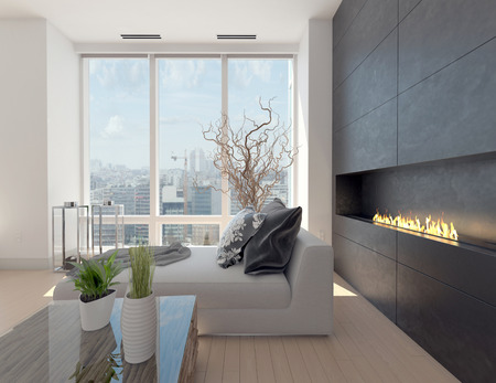 modern living room: Modern design living room with cityscape view