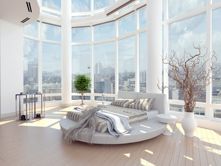 Modern design bedroom with cityscape view