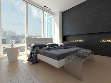view of a comfortable bedroom: Modern design bedroom with cityscape view