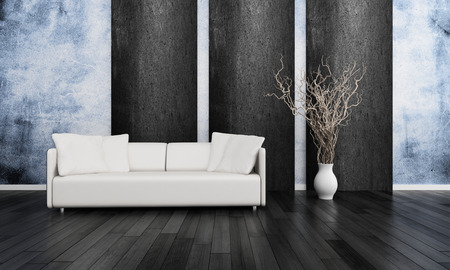 Modern white couch against blue wall photo