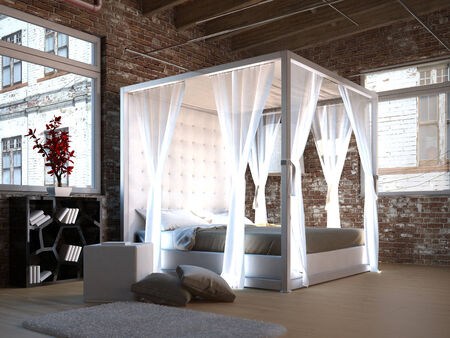 Canopy bed design with brick wall  photo