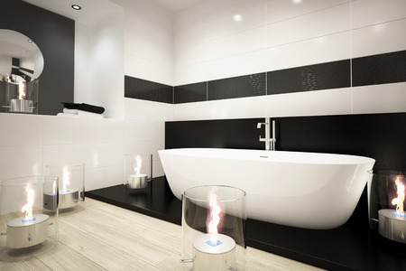 Bathtub with modern fireplace photo