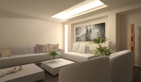 A white modern living room photo