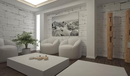 modern living: A white modern living room Stock Photo
