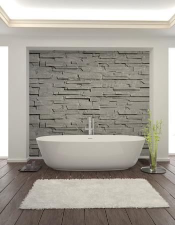 石の壁とモダンなバスルームのインテリア