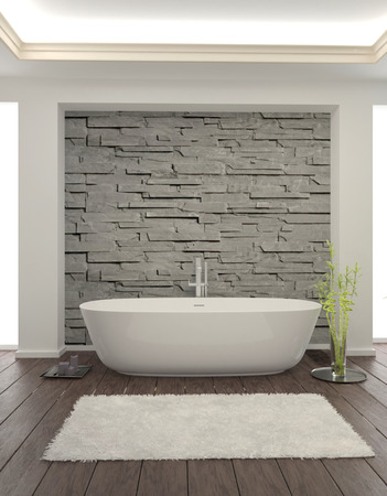 Modern bathroom interior with stone wall 免版税图像
