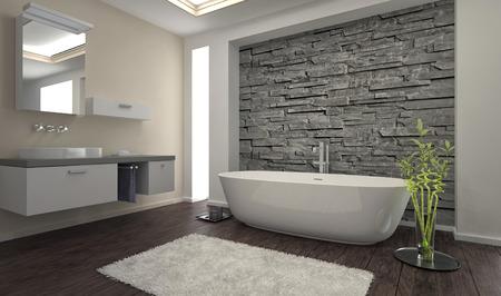 cuarto de ba�o: Interior moderno cuarto de ba�o con pared de piedra