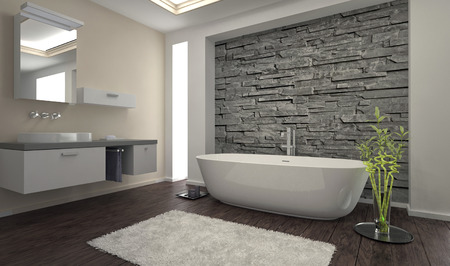 Modern bathroom interior with stone wall Imagens