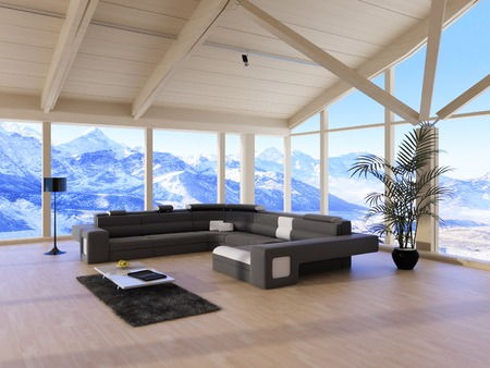Modern Loft Living Room with black couch and mountain range view photo